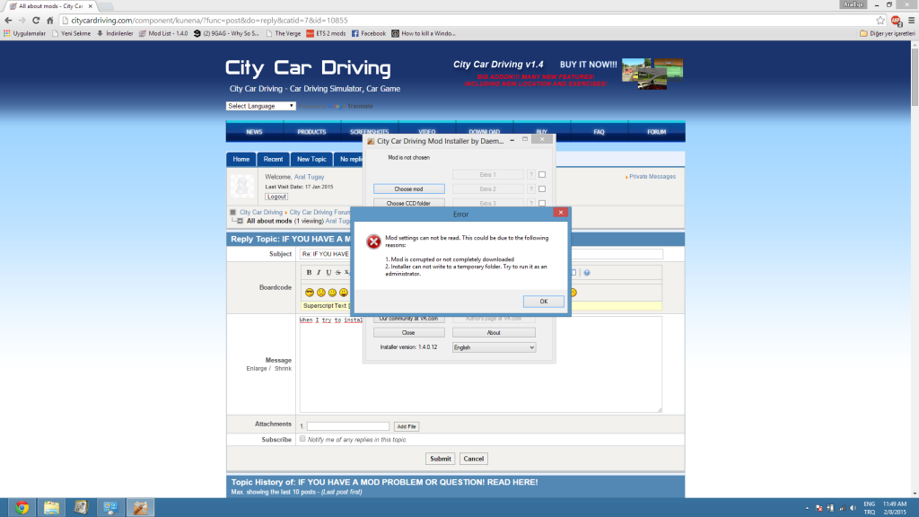 City Car Driving :: Topic: Daeman Mod Installer error (1/2)